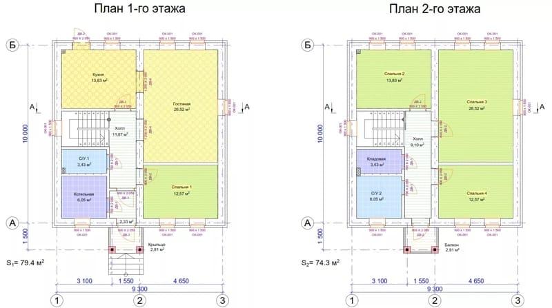 План дома из газобетона 2 этажа