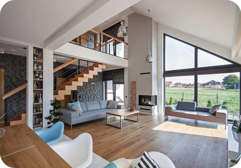 Мансардные дома из газоблока в скандинавском стиле изнутри