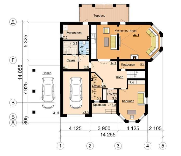 Планировка дома с гаражом и навесом для крупноразмерных машин