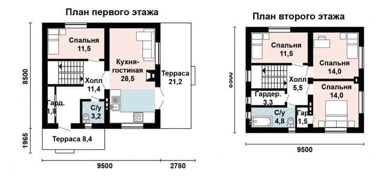 Проект дома 9х9 - двухэтажный из газобетона