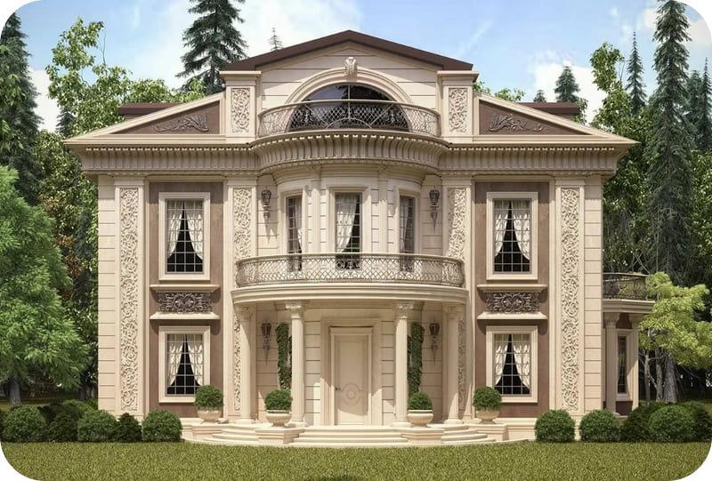 Проекты домов из газоблока с мансардой, стиль классический