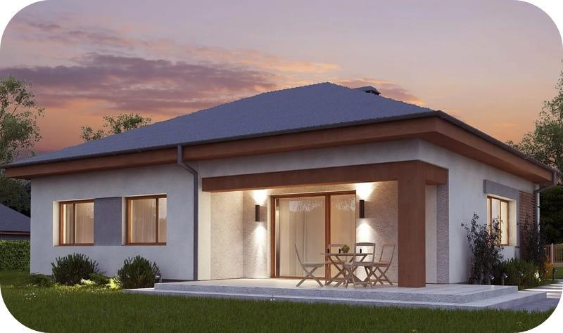 Красивый одноэтажный дом: проект из газобетона до 100м2