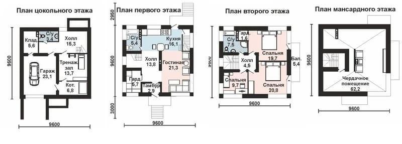 Проект двухэтажного дома 9 9 из газобетона имеет 4 уровня помещений