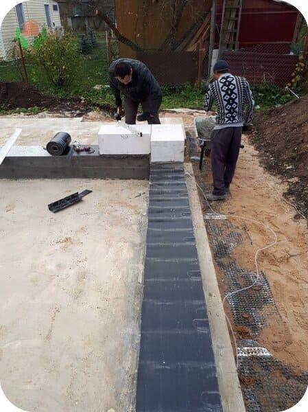 Баня 4 на 4 из газобетона – устройство отсечной гидроизоляции