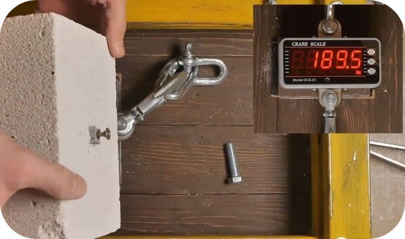 На испытаниях соединение со спиральным дюбелем Фишер выдержало почти 190 кг