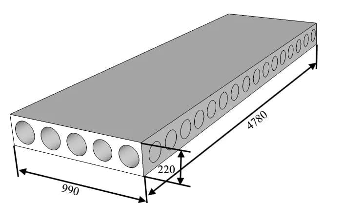 Размеры плиты типа ПК с учётом монтажного зазора 20 мм