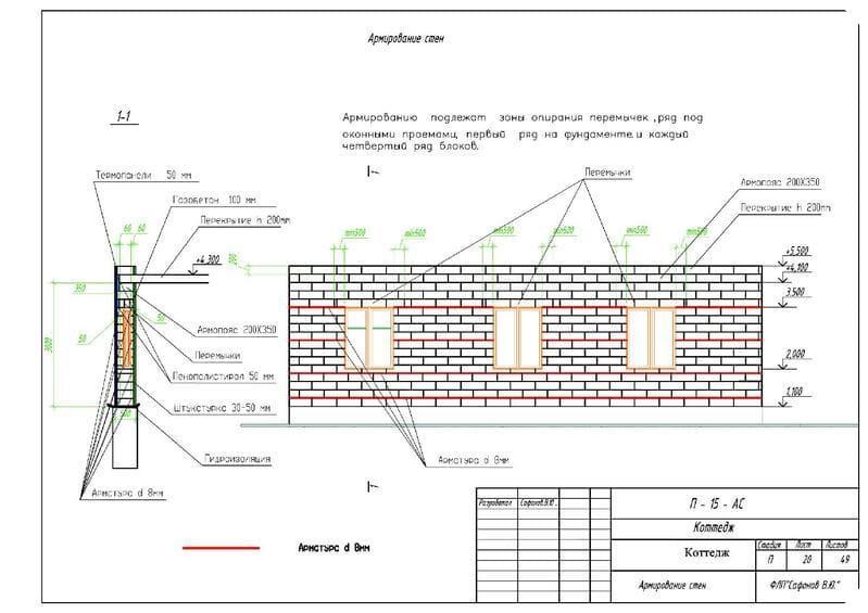 Как армировать газобетонную кладку арматурой, указано в проекте
