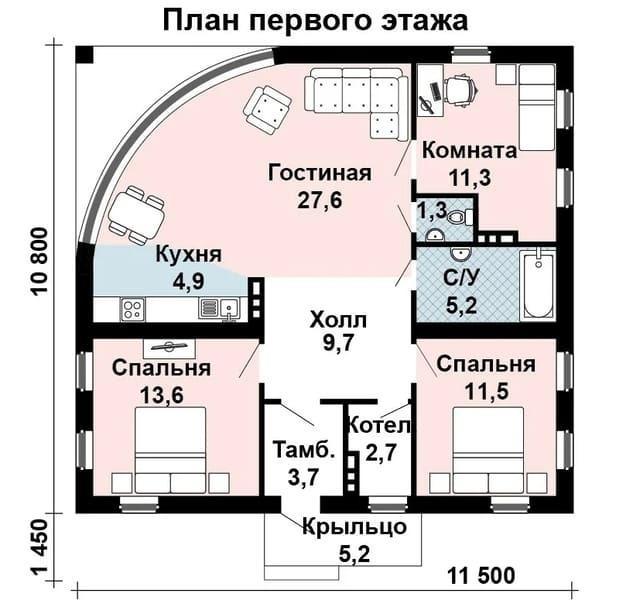 Проекты одноэтажных домов из газобетона до 100м2