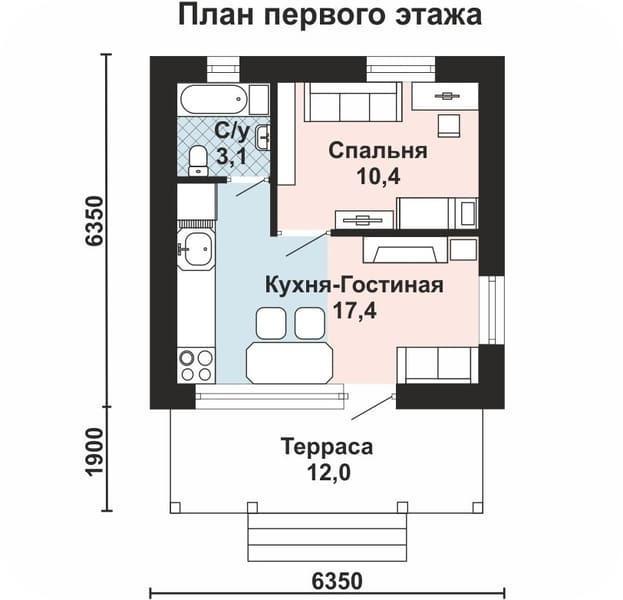Дом 6 на 6 одноэтажный, из газобетона