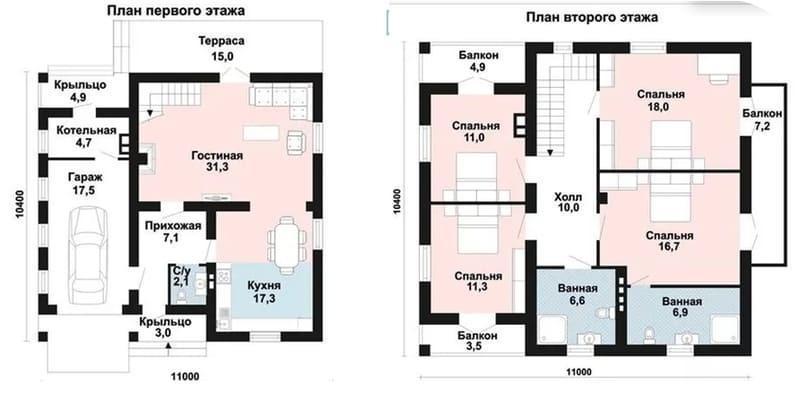 Дом 2 этажа со встроенным гаражом