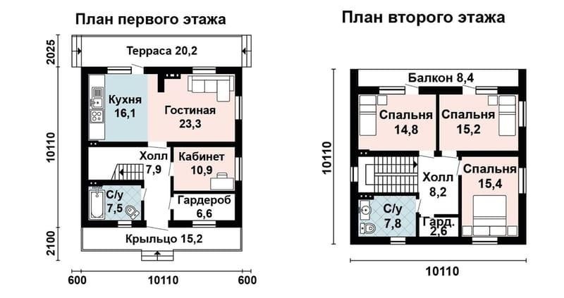 Проекты домов из газоблоков с планировкой этаж + мансарда