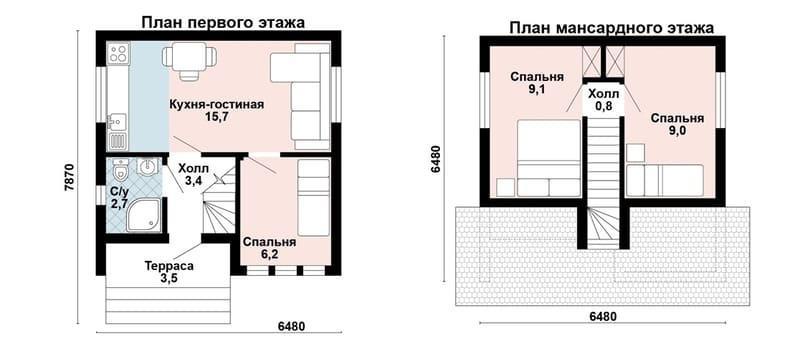 Дом 6х6 из газоблоков: две спальни наверху, одна внизу (жилая площадь 47,9 м2)