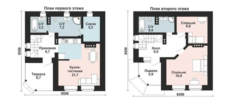 Дачный дом из газобетона - планировка этажей