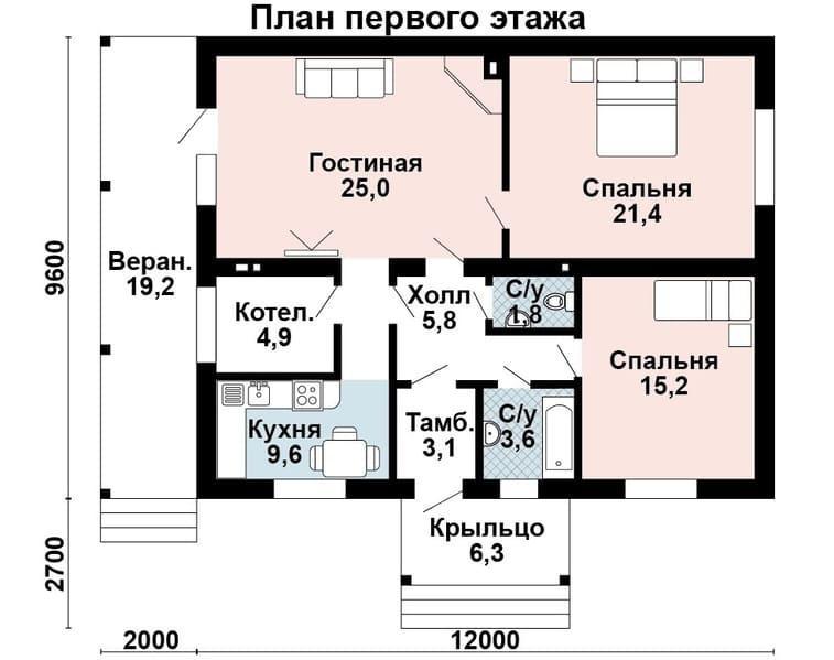 Проекты домов из газобетонных блоков до 100м2 – вариант с верандой