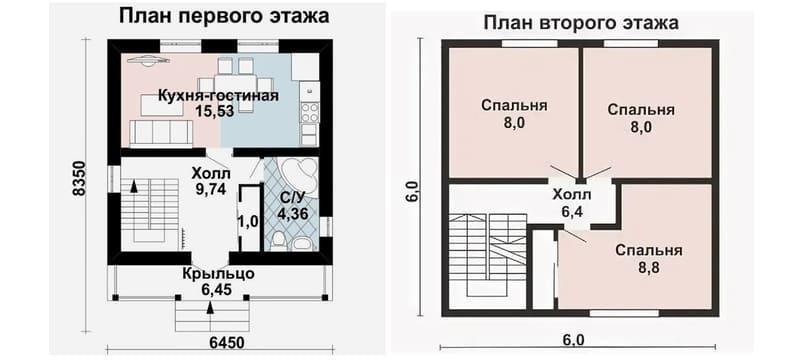 Все три спальни находятся наверху, жилая площадь 63,2 м2