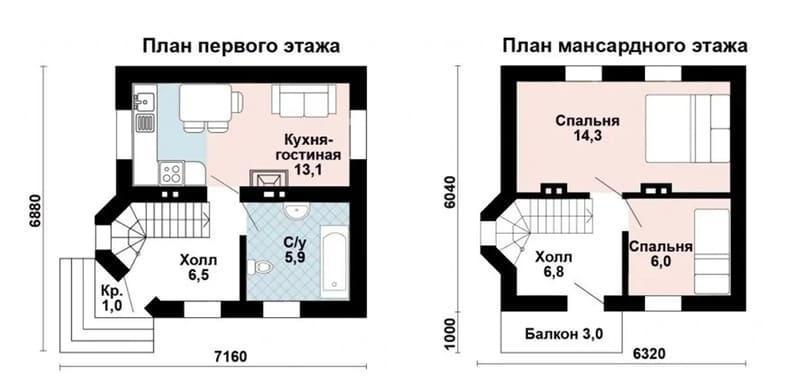 Дом из газобетона 6х6 с двумя спальнями, камином в гостиной, эркером в холле и большим санузлом (жилая площадь 53,8 м2)