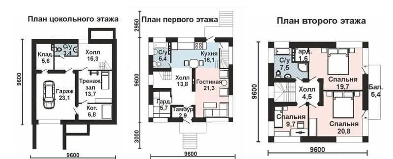 Благодаря цолольному этажу, при меньших габаритах дома получается увеличенная жилая площадь