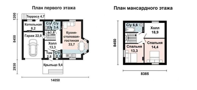 Проекты домов из газобетона с мансардой до 150 кв м