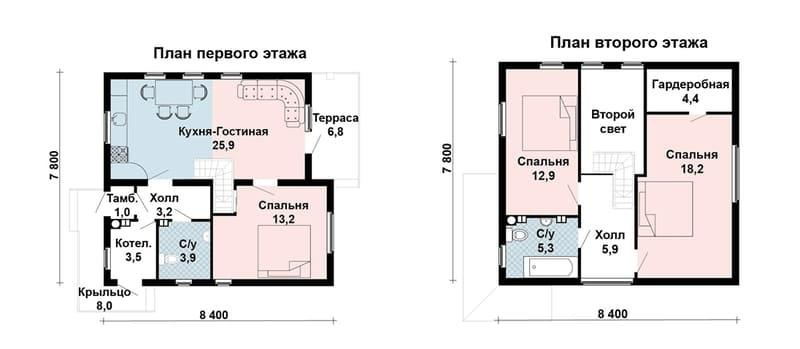 Проект дома из газобетона 7 на 9 с мансардой