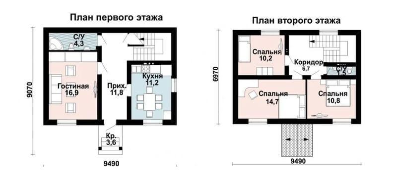 Планировка двухэтажного дома из газоблоков до 100 кв м