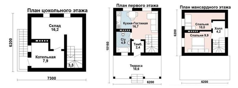 Двухэтажный дом 6 на 6 газоблока с эксплуатируемым цоколем