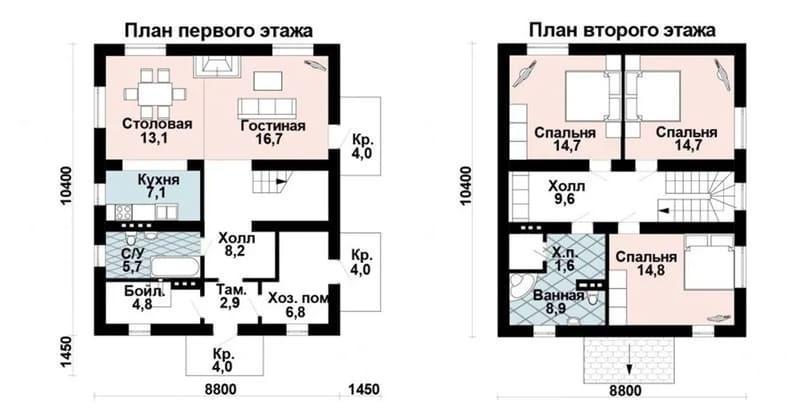Проекты двухэтажных домов из газобетона до 150 кв м