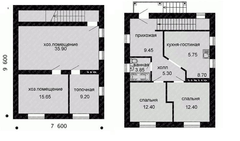 Проект дома 9х9: одноэтажный из газобетона, с цокольным этажом