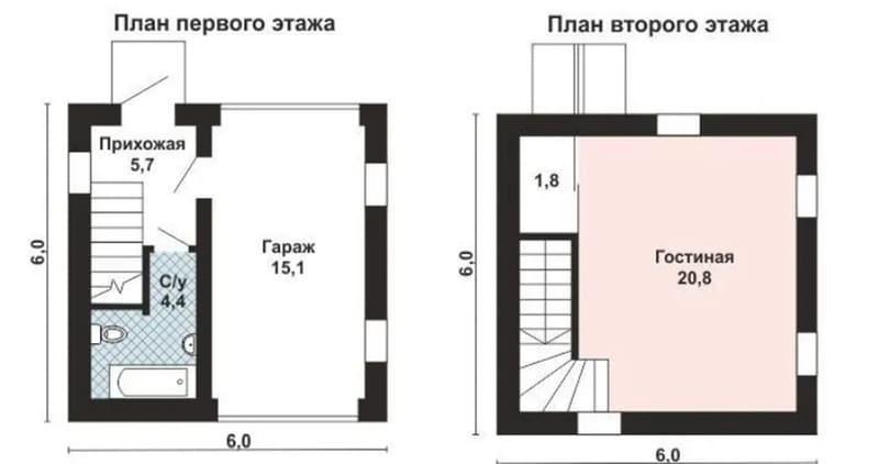 Гараж с мастерской на втором этаже