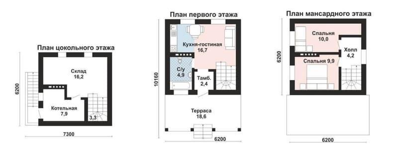 Проект дома из газобетона до 100м2 в трёх уровнях (94 м2)
