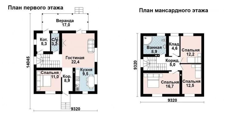 Проекты домов из газобетона 9 на 9 с мансардой