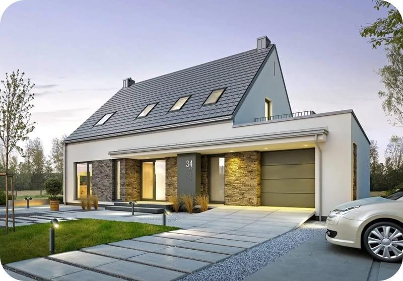 Проект дома с мансардой 8х10 из газобетона, стиль скандинавский