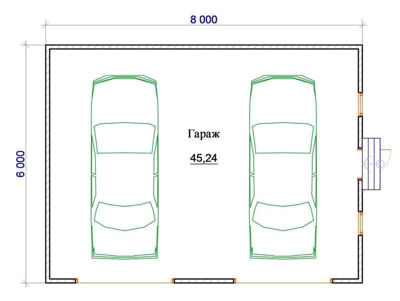 Планировка гаража для двух автомобилей