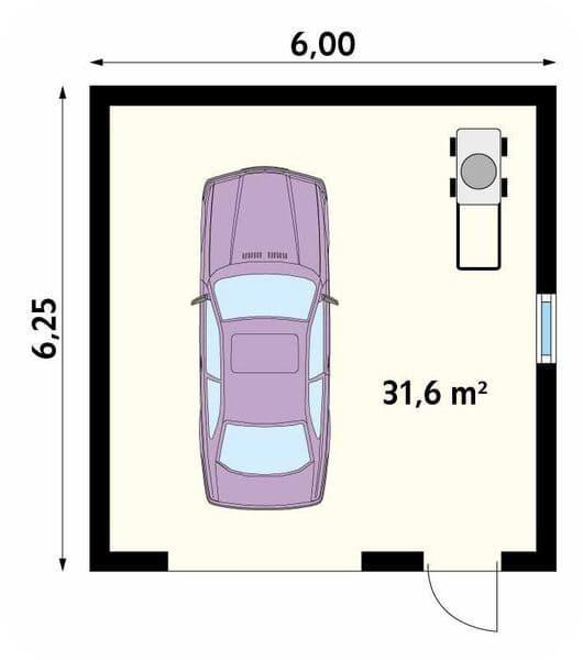 План гаража из газобетона