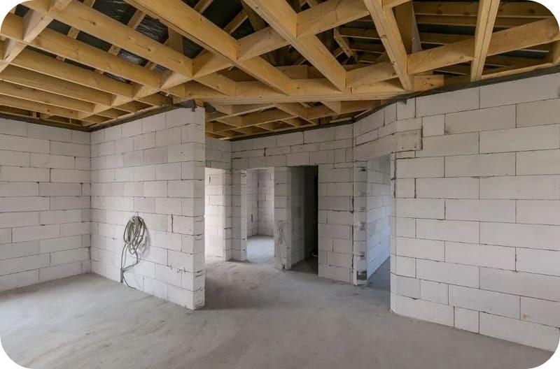 Внутренняя планировка дома с газоблочными перегородками