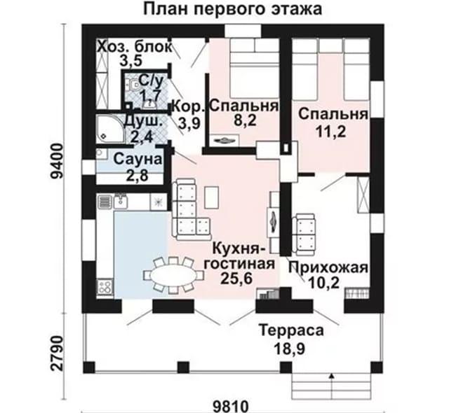 Одноэтажный дом из газобетона 10х10