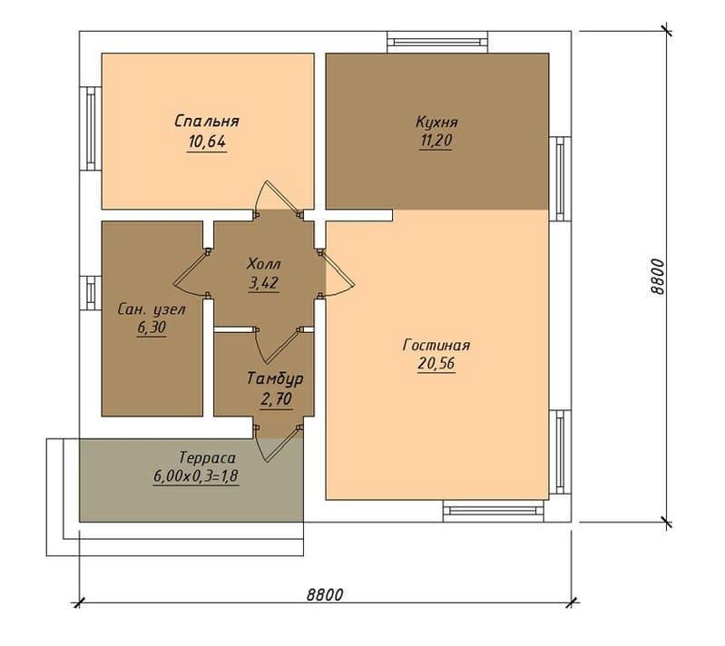Дом 8 на 8 - одноэтажный проект из газобетона