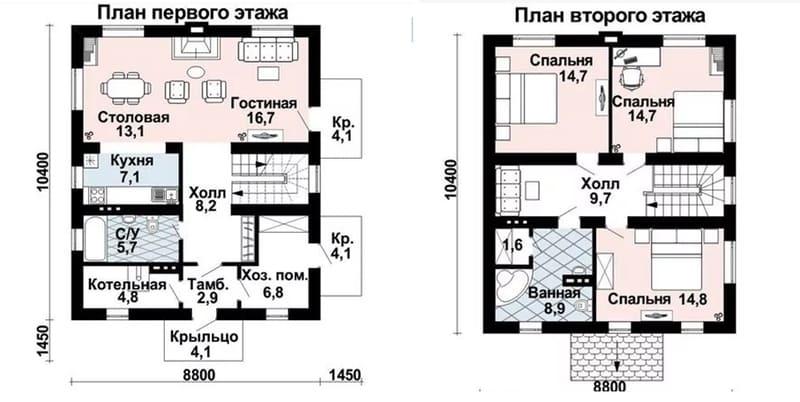 Проекты домов из газобетона 10х10 2 этажа
