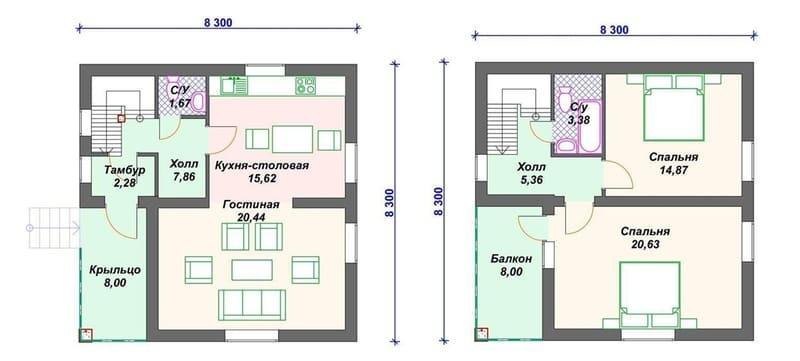 Проект дома из газобетона 8х8 с мансардой