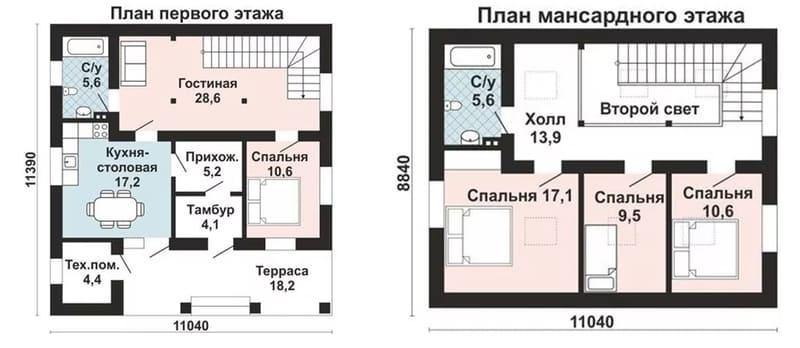 Проект дома из газобетона 10х10 с мансардой