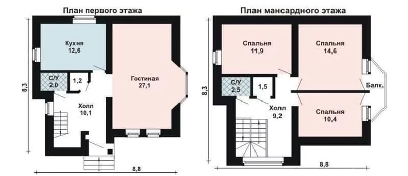 План дома из газобетона 8х8 с мансардой и эркером
