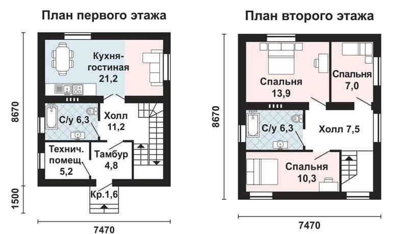 Проекты домов из газобетона 8х8 - 2 х этажный вариант