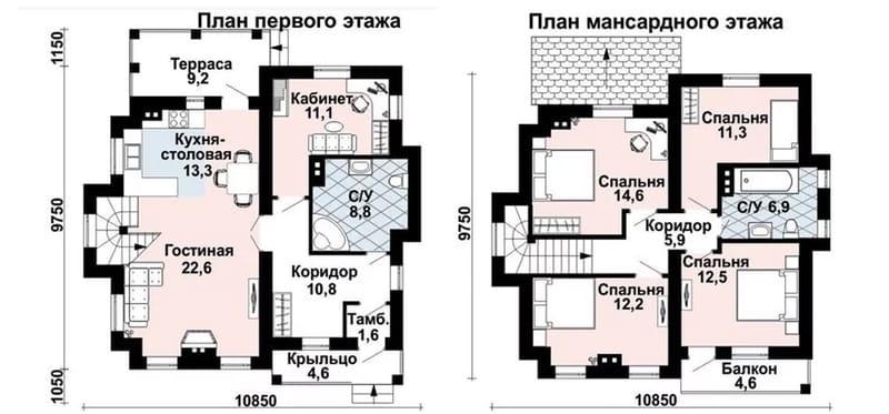 Готовый проект одноэтажного дома 10 на 10 из газоблока, с мансардным этажом