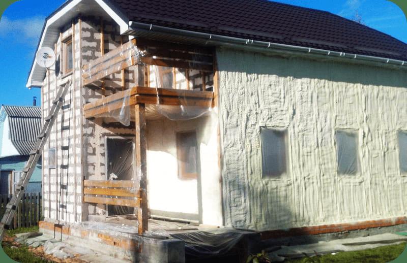 Утепление газоблочного дома пенным полиуретаном