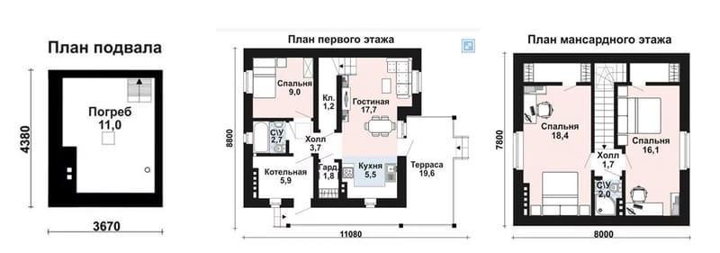 Дом из газобетона 8х8 с мансардой и подвалом