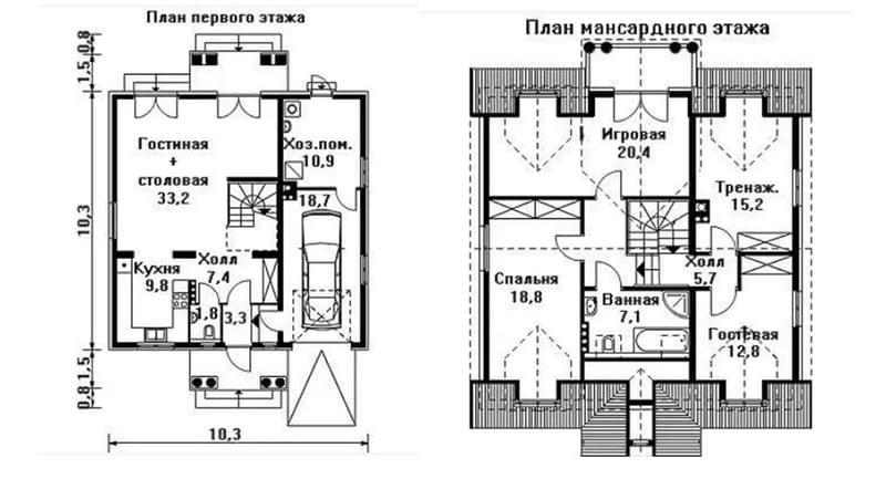 Дом из газобетона 10 на 10 с мансардой и гаражом