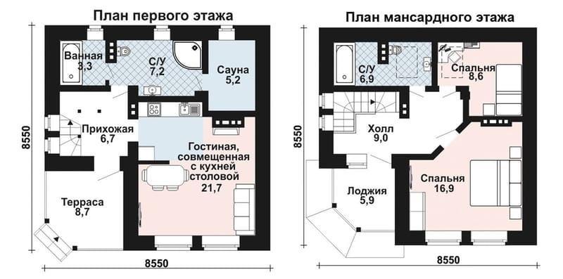 Дом 8 на 8 из газобетона - планировка с сауной