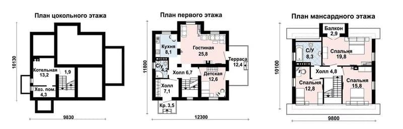 Дом из газоблоков 10 на 10 с подвалом и мансардой