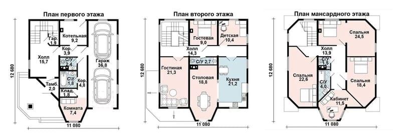 Дом в трёх уровнях, с гаражом на 2 машины