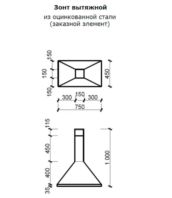 Размеры вытяжки для мангала