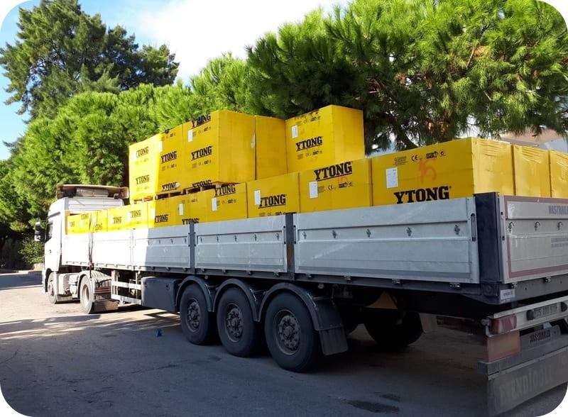 Транспортировка блоков Ytong